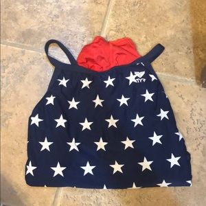red white and blue TYR swimsuit